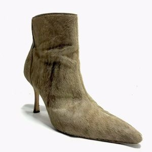 Manolo Blahnik Fur Heel Ankle Boots Booties Brown